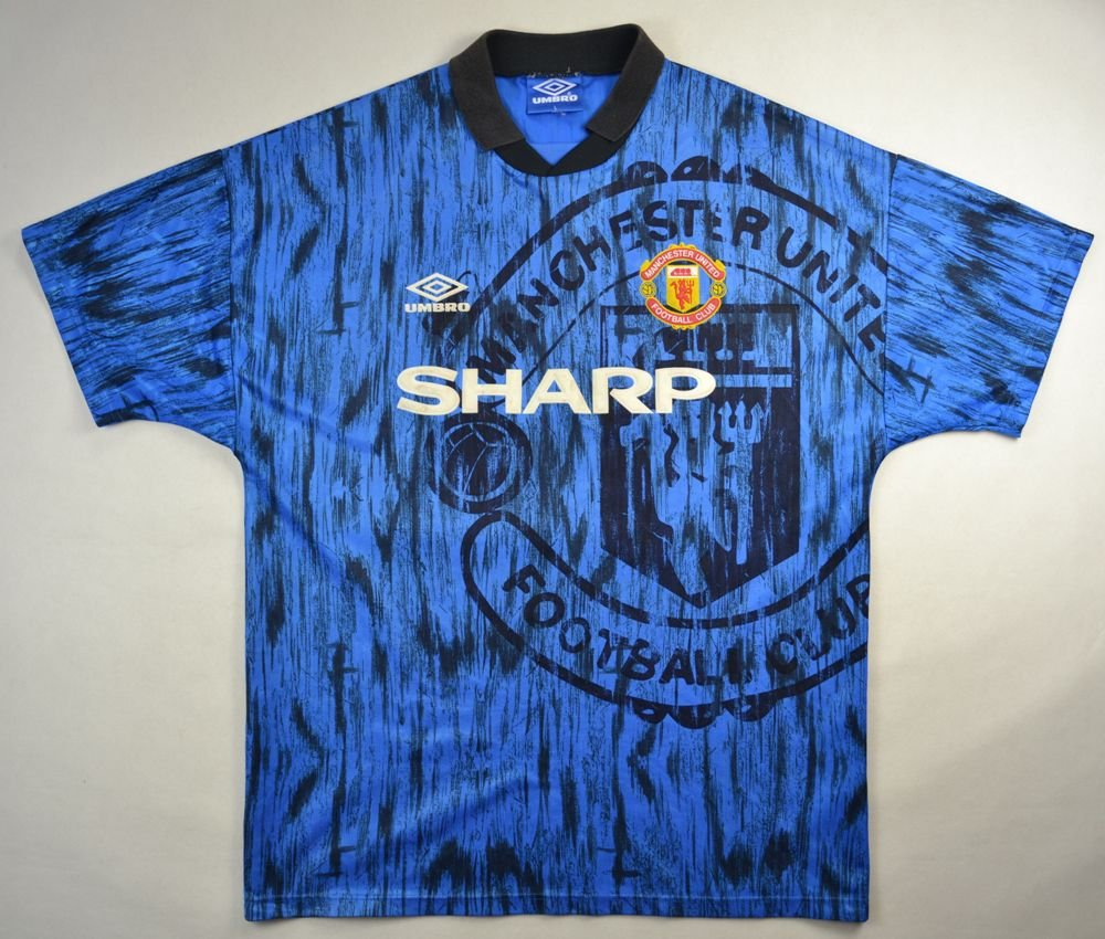 1992 93 manchester united shirt l football soccer for Custom t shirts manchester ct