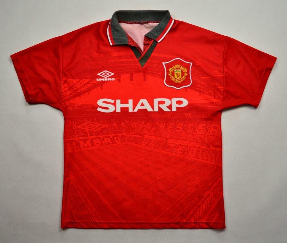 1994 96 manchester united shirt l boys football soccer for Manchester united shirt sponsor