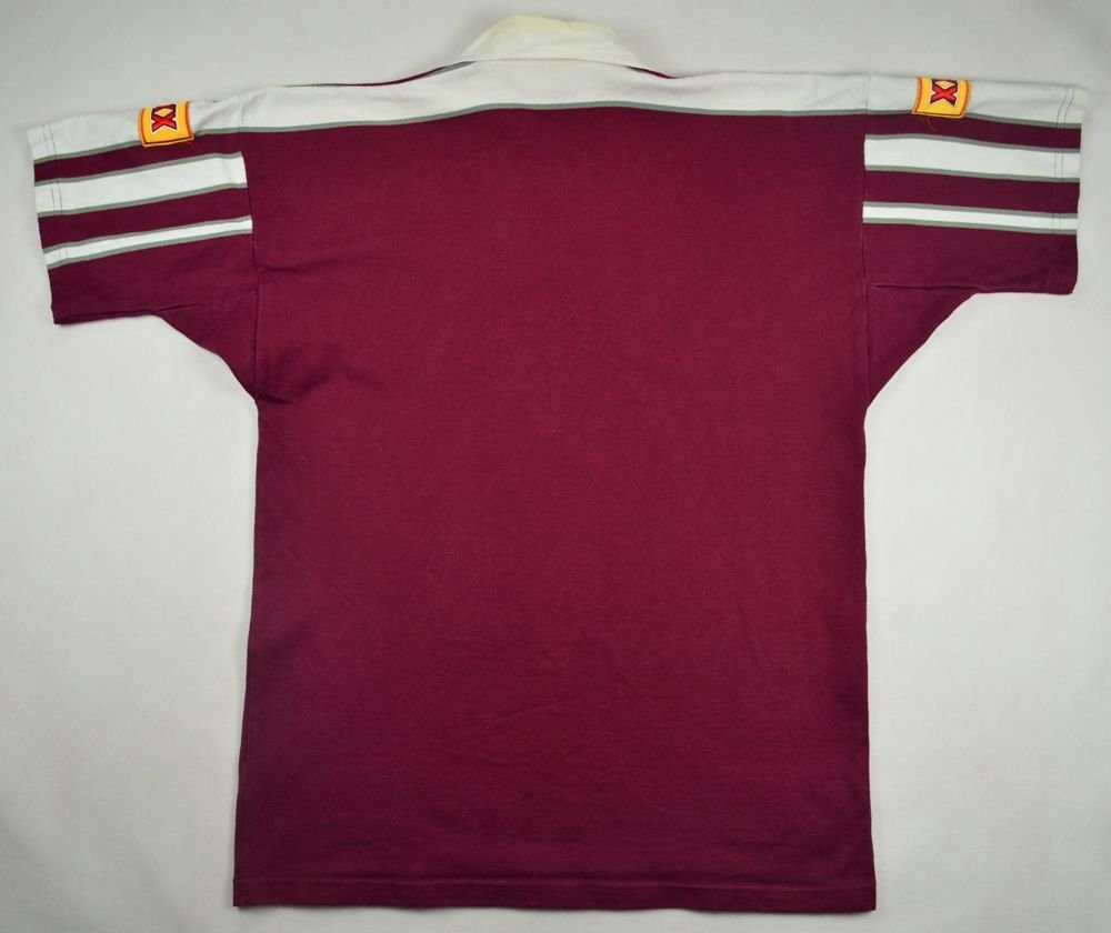 Vintage Valiant Rugby Shirt In Ultramarine Gold: QUEENSLAND RUGBY CANTERBURY SHIRT L