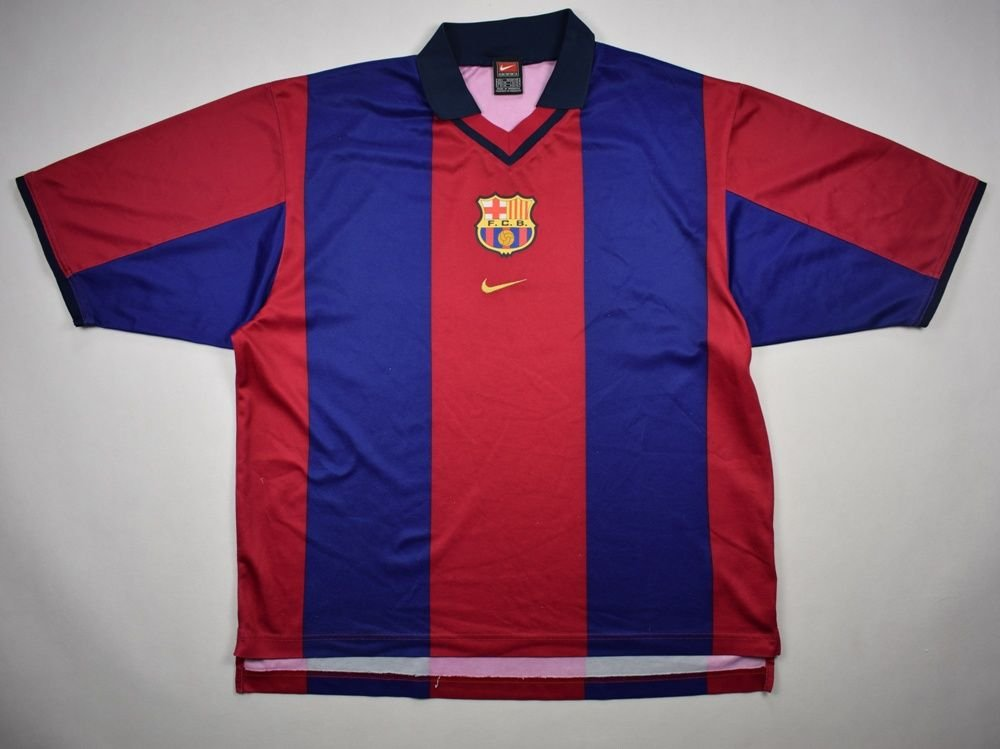 best loved ef8aa 77b2c 2000-01 FC BARCELONA SHIRT L