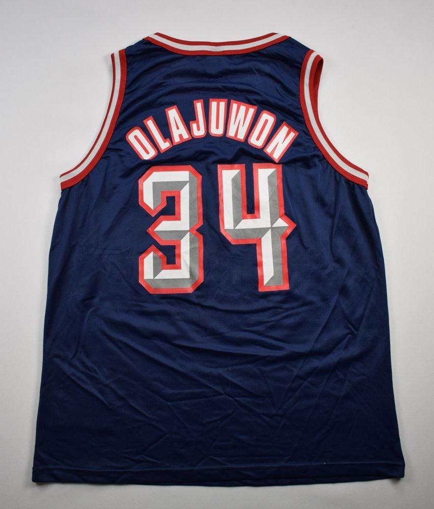 new style c258f dd3a0 HOUSTON ROCKETS NBA *OLAJUWON* CHAMPION SHIRT L
